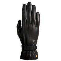 Roeckl: Gants cuir Monaco, logo or 24 carat
