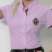 Spooks: Chemise Rose lignée courtes manches
